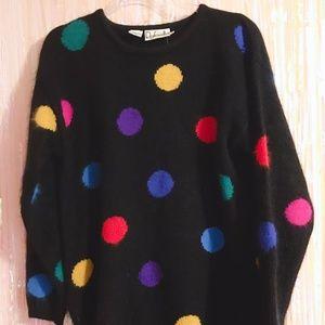 Vintage Rafaella Angora Polka Dot Sweater